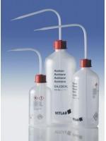 Промывалка узкогорлая, GL 25, ацетон, 250 мл, безопасная, пластиковая PP, VENT-CAP с винтовой крышкой PP (1431829) (Vitlab)